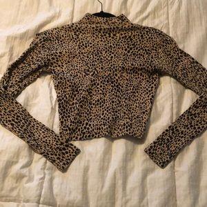 brandy melville leopard mock neck